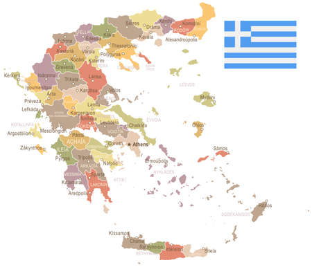 Greece vintage map and flag - vector illustration
