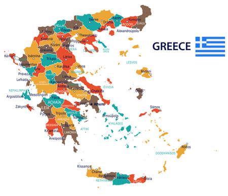 ギリシャの地図とフラグ - ベクトル図