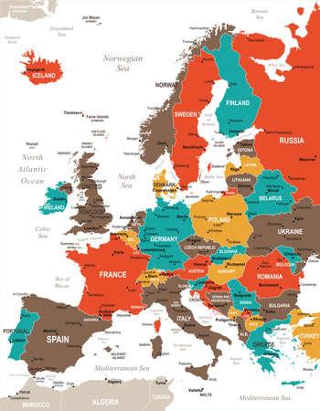 Europa kaart - gedetailleerde vectorillustratie Vector Illustratie