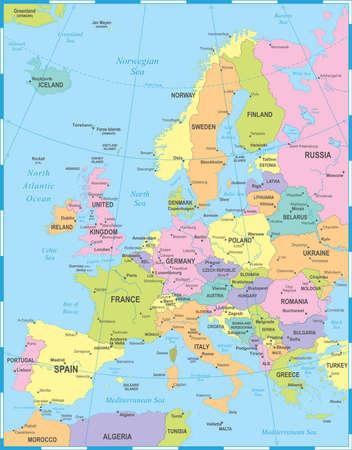 Europa kaart - gedetailleerde vectorillustratie Stockfoto - 84624797