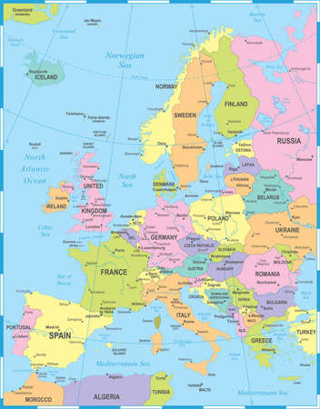 Europe Map - Detailed Vector Illustration 向量圖像