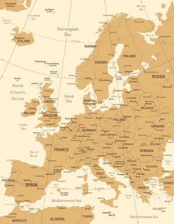 Europe Map - Vintage Illustration vectorielle détaillée Banque d'images - 84642434