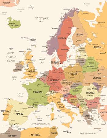 ヨーロッパ地図 - ヴィンテージの詳細なベクトル図