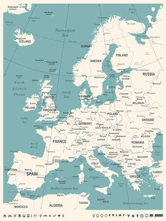 유럽지도 - 빈티지 상세한 벡터 일러스트 일러스트