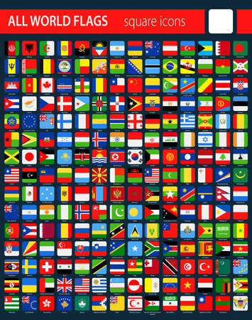Square Flag Icons on Dark Background - All World Vector illustration