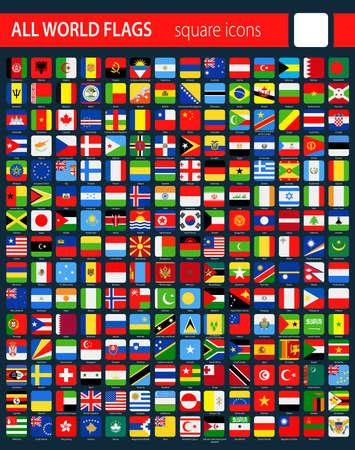 Iconos de bandera cuadrada en fondo oscuro - Todo el mundo Ilustración vectorial Foto de archivo - 84727224