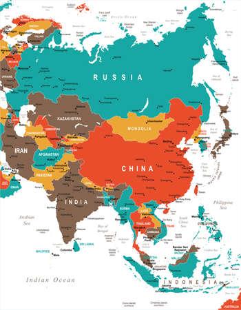 アジア地図-詳細なベクトルイラスト