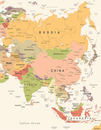 Asia Map - Vintage Detailed Vector Illustration  イラスト・ベクター素材