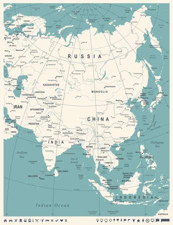 アジアマップ-ビンテージ詳細ベクトルイラスト