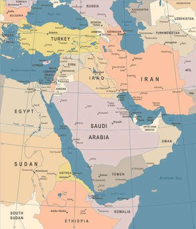 中東の地図 - ヴィンテージの詳細なベクトル図