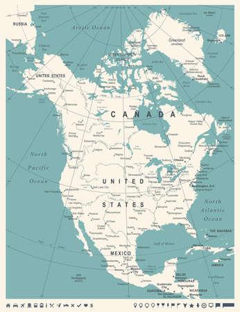 North America Map - Vintage Detailed Vector Illustration