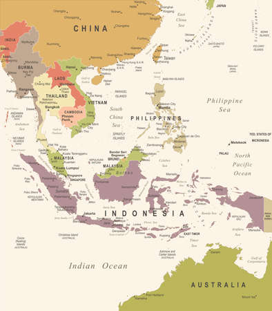 Southeast Asia Map - Vintage Detailed Vector Illustration Vettoriali