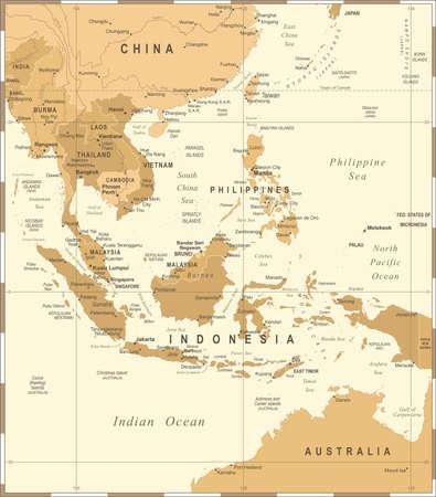 Zuidoost-Azië Kaart - Vintage Gedetailleerde Vectorillustratie Stockfoto - 84902078