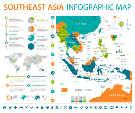 Southeast Asia Map - Detailed Info Graphic Vector Illustration Çizim