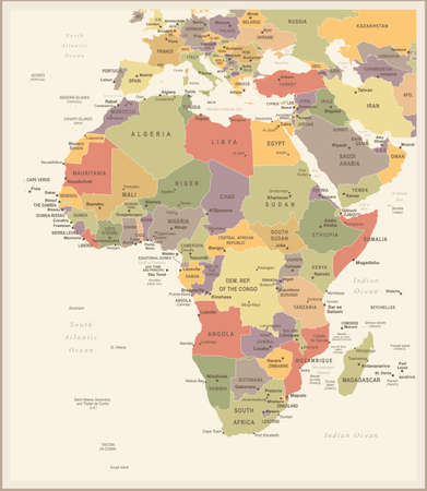 Africa Map - Vintage Detailed Vector Illustration