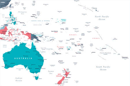 Australia and Oceania Map - Detailed Vector Illustration Illustration