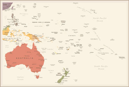 Australia and Oceania map - vintage detailed illustration.