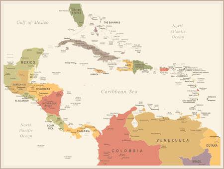 Central America map - detailed illustration. 向量圖像