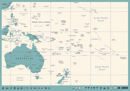 Australia and Oceania Map - Vintage Detailed Vector Illustration