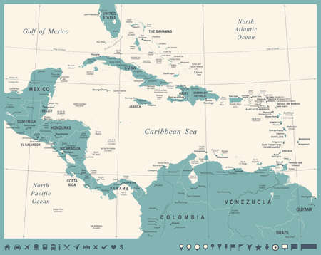 Central America Map - Vintage Detailed Vector Illustration