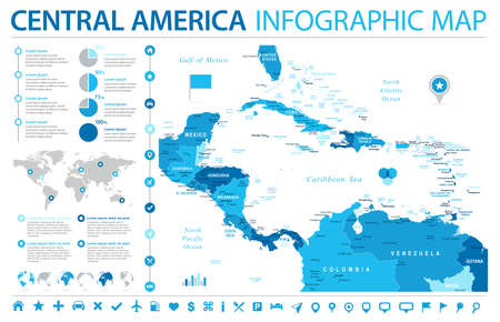 Central America Map - Detailed Info Graphic Vector Illustration