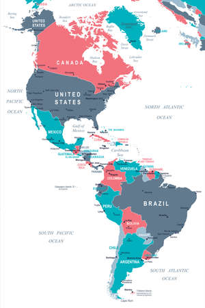North and South America Map - Detailed Vector Illustration