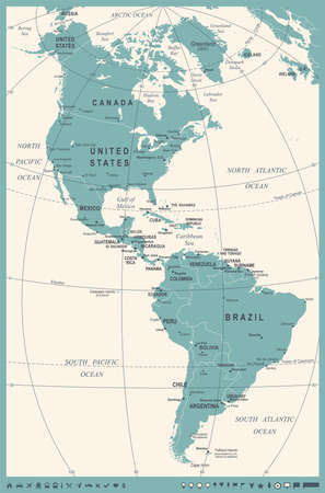 North and South America Map - Vintage Detailed Vector Illustration