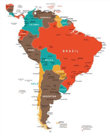 map bolivia: Mapa de América del sur - ilustración vectorial detallada