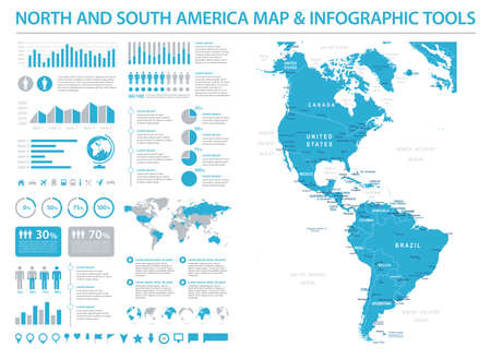 North and South America Map - Detailed Info Graphic Vector Illustration 向量圖像