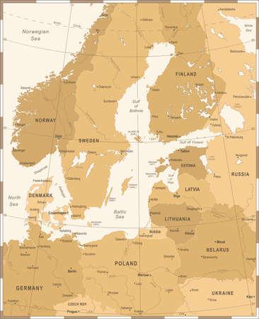 Baltic Sea Area Map - Vintage Detailed Vector Illustration