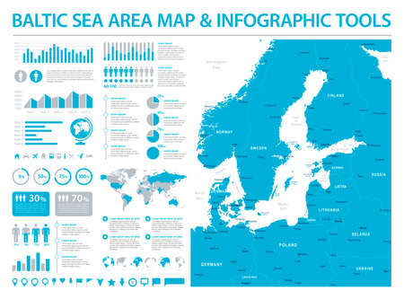 Baltic Sea Area Map - Detailed Info Graphic Vector Illustration