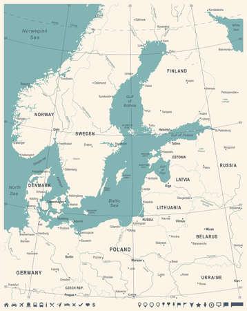 バルト海周辺地図 - ヴィンテージの詳細なベクトル図  イラスト・ベクター素材