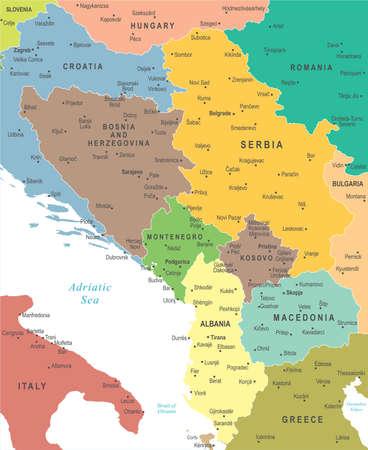 Central Balkan Map - Detailed Vector Illustration Vectores