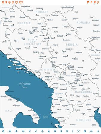 Central Balkan Map - Detailed Vector Illustration Иллюстрация