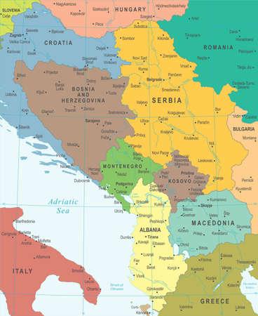 Central Balkan Map - Detailed Vector Illustration Illustration