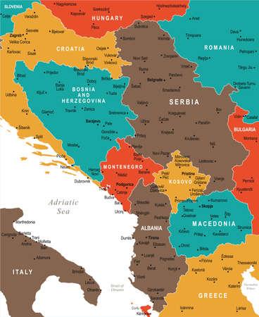 Centrale Balkankaart - Gedetailleerde Vectorillustratie Stock Illustratie
