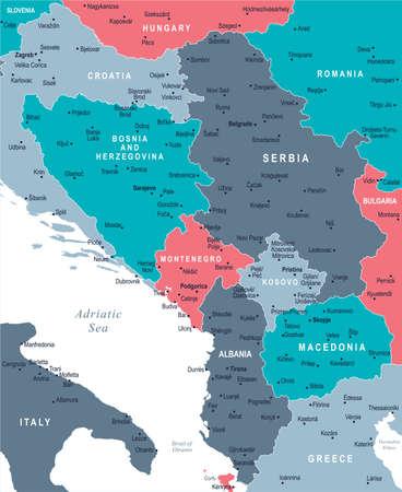 Central Balkan Map - Illustration vectorielle détaillée Banque d'images - 85620719