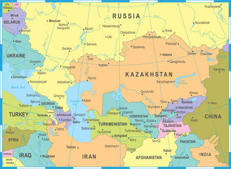 Caucasus and Central Asia Map - Detailed Vector Illustration 일러스트