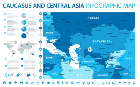 Caucasus and Central Asia Map - Detailed Info Graphic Vector Illustration