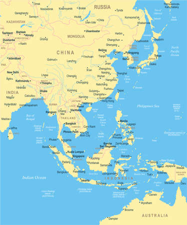 85889534 east asia map detailed vector illustration