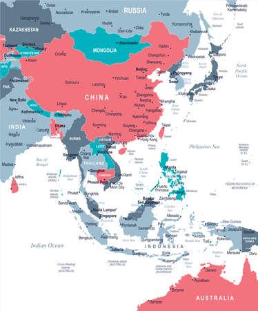 동아시아지도 - 상세한 벡터 일러스트