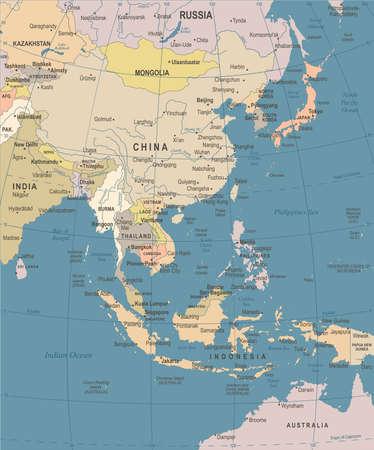 85730076 east asia map vintage detailed vector illustration
