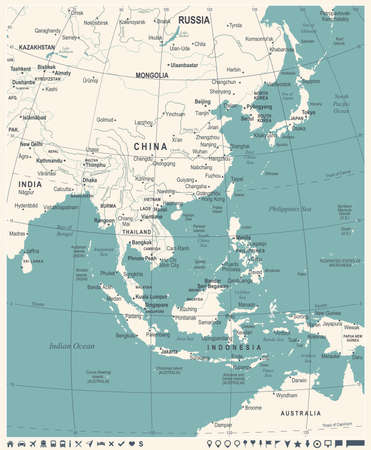 East Asia Map - Vintage Detailed Vector Illustration