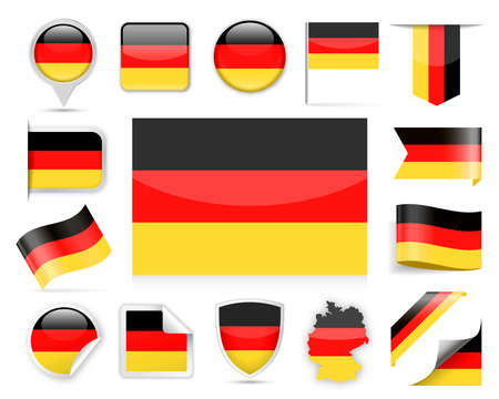 Germany Flag Set  Vector Illustration
