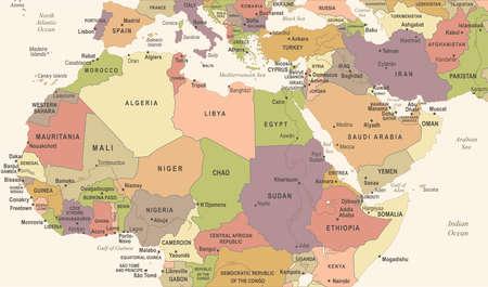 北アフリカ地図-ビンテージ詳細ベクトルイラスト  イラスト・ベクター素材