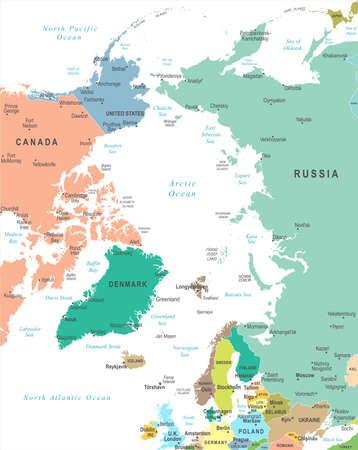 北極地図-詳細なベクトルイラスト