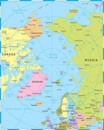Arctic map illustration.