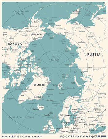 Mapa del Ártico - Vintage detallada ilustración vectorial Foto de archivo - 86682320