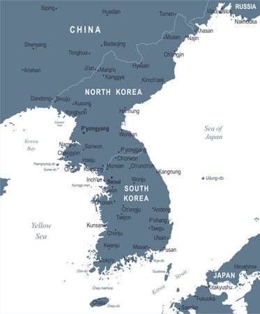 Korean Peninsula Map - Detailed Vector Illustration Ilustrace