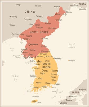 North korea south korea japan china russia mongolia map vintage korean peninsula map vintage detailed vector illustration vector gumiabroncs Choice Image